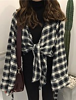 cheap -Women's Going out Vintage Shirt,Solid Shirt Collar Long Sleeve Cotton