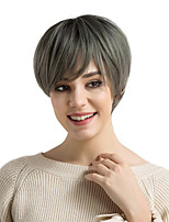cheap -Synthetic Hair Wigs Straight Side Part Ombre Hair Pixie Cut With Bangs Capless Natural Wigs Gray