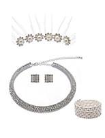 preiswerte -Damen Strang-Armbänder Braut-Schmuck-Sets Strass Europäisch Modisch Hochzeit Party Künstliche Perle Diamantimitate Aleación Geometrische