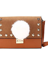 cheap -Women Bags PU Shoulder Bag Buttons Feathers / Fur for Casual All Season Brown Gray Red Black Green