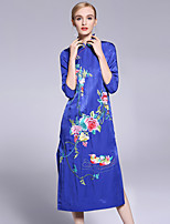 cheap -Women's Sophisticated Chinoiserie Sheath Dress - Floral, Flower Stand