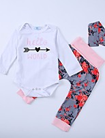 cheap -Girls' Daily Floral Print Clothing Set, Cotton Spring All Seasons Long Sleeves Cute White