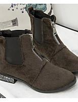 Недорогие -Для женщин Обувь Бархатистая отделка Зима Осень Удобная обувь Ботильоны Ботинки На толстом каблуке Ботинки для Повседневные Черный Хаки