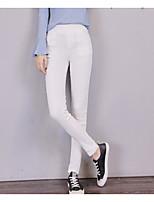 preiswerte -Damen Stilvoll Mittel Polyester Solide Einfarbig Legging,Weiß Schwarz Marineblau