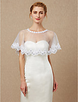 cheap -Sleeveless Lace Tulle Wedding Party / Evening Women's Wrap With Applique Lace Capelets
