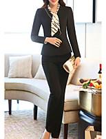 abordables -Blazer Pantalon Costumes Femme,Couleur Pleine Quotidien Décontracté Hiver Manches longues Col Arrondi énorme Coton Acrylique