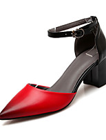 cheap -Women's Shoes PU Spring Fall Comfort Novelty Heels Chunky Heel Pointed Toe Round Toe Buckle for Wedding Party & Evening Almond Red Black