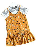 cheap -Girl's Going out Creative Dress, Others Summer Short Sleeves Simple Blue Yellow
