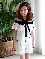 cheap -Girl's Solid Dress,Cotton Bamboo Fiber N/A Short Sleeves Vintage White