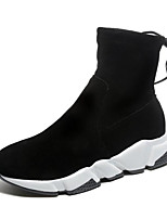 baratos -Mulheres Sapatos Pele Nobuck Inverno Outono Coturnos Conforto Botas Salto Plataforma Botas Curtas / Ankle para Casual Preto Marron