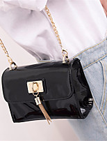 cheap -Women Bags Patent Leather Shoulder Bag Pockets Tassel for Outdoor All Season Black