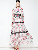 cheap -Women's Boho Swing Dress - Floral, Basic Maxi