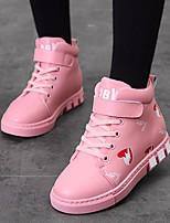 Недорогие -Девочки обувь Кожа Весна Осень Ботильоны Удобная обувь Ботинки для Повседневные Черный Красный Розовый