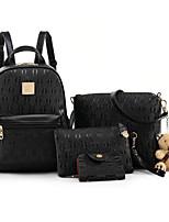 cheap -Women Bags PU Bag Set 4 Pieces Purse Set Zipper for Casual Outdoor Winter Fall Black White