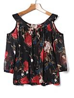 Недорогие -Жен. Повседневные Весна Блуза,Круглый вырез Богемный Цветочный принт Длинные рукава Полиэстер