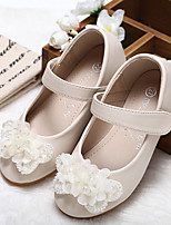 cheap -Girls' Shoes Synthetic Microfiber PU Spring Summer Comfort Flower Girl Shoes Flats Walking Shoes Applique Beading Magic Tape for Wedding