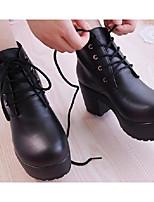 economico -Da donna Scarpe PU (Poliuretano) Primavera Autunno Comoda Stivaletti alla caviglia Stivaletti Quadrato per Casual Bianco Nero