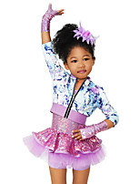 cheap -Kids' Dancewear Outfits Children's Stage Spandex Elastic Tulle Sequined Flower(s) Paillette 3/4 Length Sleeves High Dresses Top Sleeve