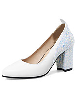 cheap -Women's Shoes Glitter Leatherette Spring Summer Comfort Heels Chunky Heel Pointed Toe Sparkling Glitter for Wedding Party & Evening Red