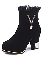 cheap -Women's Shoes Fabric Winter Fall Comfort Boots Chunky Heel Booties/Ankle Boots for Casual Office & Career Black