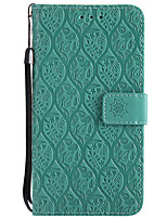 cheap -Case For Huawei Y3 (2017) Card Holder Wallet with Stand Embossed Full Body Solid Color Flower Hard PU Leather for Huawei Y6 (2017)(Nova