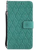 Недорогие -Кейс для Назначение Huawei Y3 (2017) Кошелек Бумажник для карт со стендом Рельефный Чехол Сплошной цвет Цветы Твердый Искусственная кожа