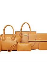cheap -Women Bags PU Polyester Bag Set 6 Pieces Purse Set Zipper for Casual All Season Fuchsia Yellow Red Black Blue