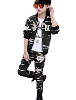 cheap -Girls' Daily Sports Striped Print Camouflage Clothing Set,Cotton Polyester Spring Fall Long Sleeve Casual Street chic Punk & Gothic Army