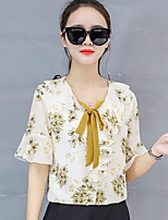 cheap -Women's Daily Going out Casual Street chic Spring Summer BlouseFloral Round Neck  Length Sleeve Polyester