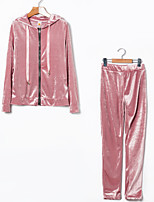 cheap -Women's Daily Sports Simple Casual Spring Fall Hoodie Pant Suits,Solid Color Hooded Long Sleeve Velvet Micro-elastic