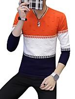 preiswerte -Herren Standard Pullover-Alltag Freizeit Einfarbig V-Ausschnitt Langarm Polyester Japanische Baumwolle Winter Herbst Dick Mikro-elastisch
