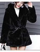 cheap -Women's Casual/Daily Simple Winter Fur Coat,Solid Long Faux Fur