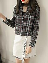 Недорогие -Для женщин На каждый день Рубашка Рубашечный воротник,Уличный стиль С принтом Длинный рукав,Другое