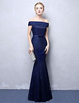 Mermaid / Trumpet Off-the-shoulder Ankle Length Lace Formal Evening Dress with Sequins by Embroidered Bridal