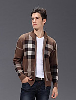 cheap -Men's Daily Going out Casual Regular Cardigan,Color Block Stand Long Sleeves Japanese Cotton Fall Thick Micro-elastic