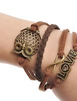 cheap -Men's Women's Wrap Bracelet , Simple Fashion Leather Alloy Owl Jewelry Daily