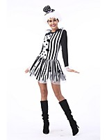 cheap -Burlesque Clown Circus One Piece Dress Cosplay Costume Party Costume Female Halloween Carnival Festival / Holiday Halloween Costumes Black