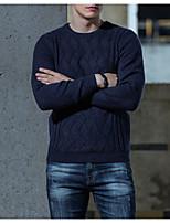 Недорогие -Муж. Однотонный На каждый день Пуловер, Повседневные Длинный рукав Круглый вырез Полиэстер Зима Осень