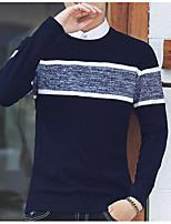 Недорогие -Муж. Полоски Пуловер, На выход Длинный рукав Круглый вырез Нейлон Зима Осень