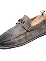 abordables -Homme Chaussures Croûte de Cuir Printemps Automne Moccasin Mocassins et Chaussons+D6148 pour Décontracté Noir Gris Kaki