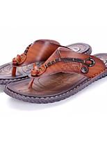 Недорогие -Муж. обувь Искусственное волокно Весна Осень Удобная обувь Тапочки и Шлепанцы для Повседневные Темно-синий Хаки