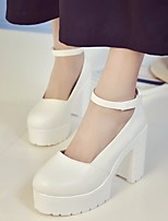 cheap -Women's Shoes PU Spring Fall Comfort Heels Chunky Heel for Casual White Black