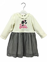 cheap -Girl's Daily Color Block Dress,Cotton Spring Fall Long Sleeves Casual Active Cartoon White