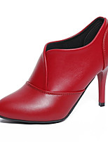 cheap -Women's Shoes PU Spring Fall Comfort Heels Stiletto Heel for Outdoor Red Black