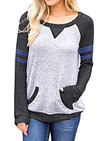 cheap -Women's Daily Casual Winter T-shirt,Geometric Round Neck Long Sleeve Polyester