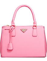 cheap -Women's Bags PU Tote Zipper for Casual All Seasons Black Red Blushing Pink Fuchsia Brown