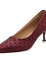 preiswerte -Damen Schuhe Gummi Frühling Herbst Komfort High Heels Niedriger Heel Spitze Zehe für Draussen Gold Schwarz Silber Blau Wein