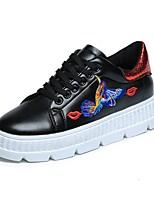 economico -Da donna Scarpe PU (Poliuretano) Primavera Autunno Comoda Sneakers Piatto Punta tonda per Casual Nero