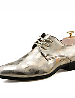 cheap -Men's Shoes Leather Spring Summer Comfort Oxfords for Casual Outdoor Silver Black Gold