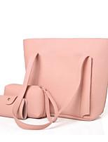 preiswerte -Damen Taschen PU Bag Set 3 Stück Geldbörse Set Knöpfe für Normal Winter Herbst Schwarz Rote Rosa Grau Kamel